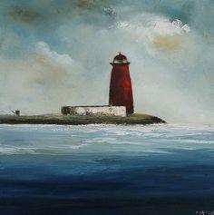 Poolbeg lighthouse by Padraig McCaul Summer Painting, Painting Workshop, Red Roof, Irish Art, Contemporary Landscape, Dublin Ireland, Canvas Frame, Home Art, Lighthouse