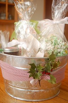 galvanized tub with homemade goodies (cute gift idea)