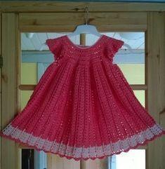 Moda Crochet, Crochet Stitches, Crochet Baby, Knit Crochet, Crochet Patterns, Toddler Dress, Baby Dress, Drops Design, Crochet Clothes