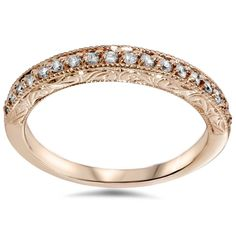 Diamond Wedding Rings Vintage Diamond Rose Gold Wedding Ring - 30 Day Money Back Guarantee Lifetime Warranty Conflict Free Diamonds Wedding Rings Rose Gold, Wedding Rings Vintage, Vintage Rings, Wedding Jewelry, Vintage Style, Gold Ring, Bridal Rings, Womens Wedding Bands, Wedding Rings For Women