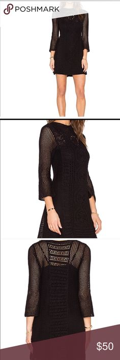 Free People Crocheted dress Gorgeous New Free People Rosalind Swift dress size. M with crocheted front panel that adds sweetness to this FP dress. L/S with flavored cuffs. Optional slip lining.  Open knot - 55% ramie/45% cotton. Lining 100% Rayon Free People Dresses
