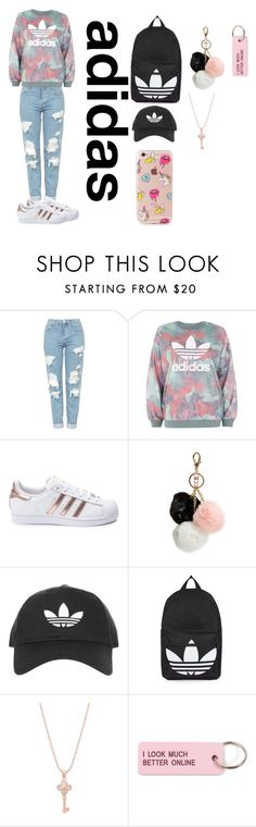 """Im into this pink and black vibe"" by memermaid70 ❤ liked on Polyvore featuring Topshop, adidas, GUESS, Belk Silverworks, Various Projects and The Casery"
