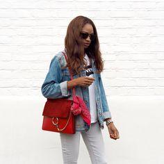 Denim+off white jeans+red hand bag