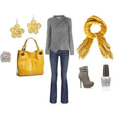 Yellow Fall. Fun! I don't like the shoes or the purse .. everything else is cute