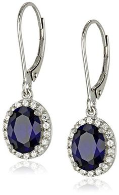 Sterling Silver Created Blue Sapphire and Created White Sapphire Lever Back Dangle Earrings