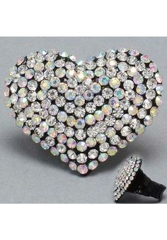 Heart Shape Iridescent Cocktail Ring at PromDressShop.com