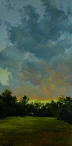 Gloaming, oil on canvas, 24x12. The clouds on this one really draw me in - I can smell the rain in the air :)
