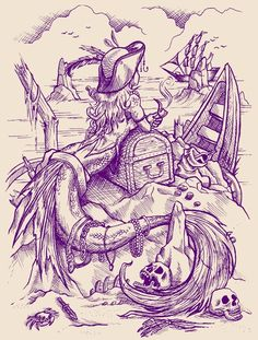 mermaid drawing. I have this on a T-shirt, and love it!  Repin & Follow my pins for a FOLLOWBACK!