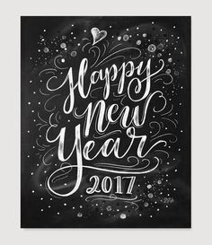 Lily & Val – New Year's Eve Download - 2017 New Year's Eve Party Sign - New Years Party Decor - Happy New Year Digital Printable 8x10 - Chalkboard Art