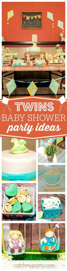 Check out this fun Twin 'playground' Baby Shower! The little people desserts are so cute!! See more party ideas and share yours at http://CatchMyParty.com