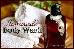 How To Make Natural Moisturizing Body Wash - 2/3 cup liquid castile soap, 1/4 cup honey, 2 tsp oil (grapeseed, jojoba, almond, sesame, or olive), 1 tsp Vitamin E oil, 50-60 drops EO