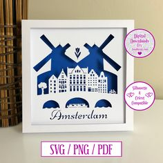 Amsterdam City Paper Cut Digital Download and Decal by JumbleinkDesign on Etsy City Paper, Amsterdam City, Handmade Items, Handmade Gifts, Paper Cutting, Decal, Digital, Frame, Etsy