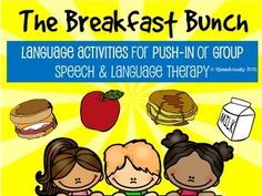 I am proud to introduce The Breakfast Bunch! This packet is filled with hands-on language activities for push-in or group speech and language services.  Using fun breakfast themed pictures and activities, this activity targets sentence formulation, syntax, pronouns, describing, answering yes/no and wh-questions, listening and following directions, prepositional terms, and social skills!