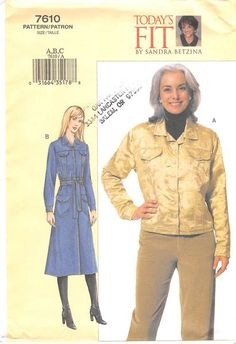 VOGUE 7610 - FROM 2002 - UNCUT - MISSES JEAN JACKET AND COAT