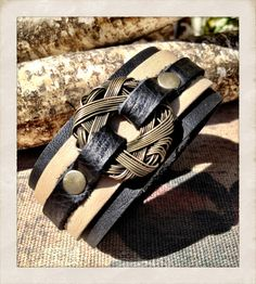 Black and beige leather cuff bracelet with Wire ring, Black leather cuff bracelet, thin leather cuff with ring by torn to pieces