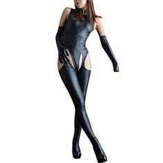 dc91bb5ca7f Letdown Women's Sexy Jumpsuit Leather Underwear Zipper Underwear Hollow  Pajamas,#Sexy, #Jumpsuit