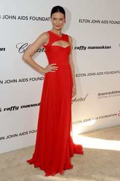 Odette Annable Stylish Keyhole Red Chiffon Carpet Dress Celebrity Prom Gown