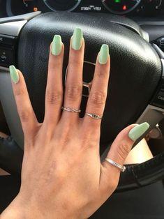 Cute Mint green nails - mint nails nails nails nails for teens fall 2019 fall autumn fake nails nails natural Simple Acrylic Nails, Summer Acrylic Nails, Best Acrylic Nails, Acrylic Nail Designs, Spring Nails, Acrylic Nails Green, Summer Nails, Green Nail Designs, Simple Nails