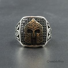 Greek Spartan Brass Helmet on Sterling Silver Ring, Men's Chevalier Statement Ring, Ancient Greece Warrior Ring, Men's Jewelry #etsy #cubiczirconia #black #silver #stone #unisexadults #spartanhelmetring #helmetring #mensring #sterlingsilverring Greek Jewelry, Men's Jewelry, Photo Jewelry, Warrior Ring, Classical Period, Art Necklaces, Cubic Zirconia Rings, Geometric Necklace, Ancient Greece