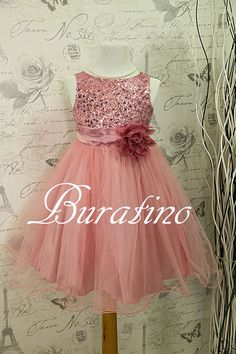 Flower Girl  Dress Dusty Rose/Pink Sequin Double Mesh Flower Girl Toddler Wedding Special Occasion Dress