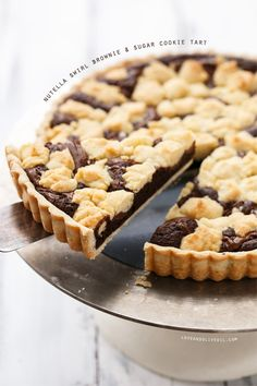 Nutella Swirl Brownie & Sugar Cookie Tart