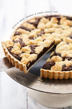 Nutella Swirl Brownie & Sugar Cookie Tart @Lindsay Landis | Love and Olive Oil