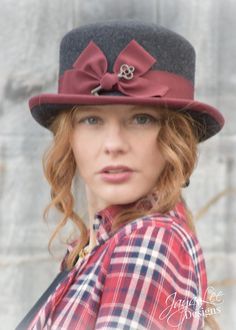 Steampunk Top Hat in Dark Grey and Burgundy by GreenTrunkDesigns