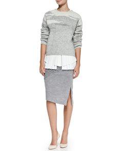 Long-Sleeve Crewneck Sweater, Pleated Layered Sleeveless Silk Blouse & Ruched/Smooth Slub Pencil Skirt by 10 Crosby Derek Lam at Neiman Marcus.