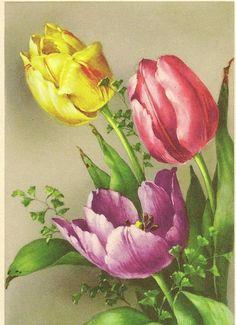 Stunning Vintage Art Postcard Tulip Bouquet by TheOldBarnDoor, $4.00
