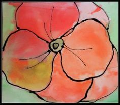 Kindergarten O'Keeffe poppies--black glue and watercolors