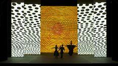 Jun Kaneko, The Magic Flute, Scale Model with Set Projection, 2011 Set Design Theatre, Stage Design, Installation Art, Art Installations, Lyric Opera, The Magic Flute, Animal Print Rug, Stage Set, Scenic Design