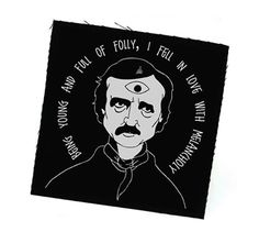 £3.50 This A.W. original is an illustration of one of my Goth heroes, Eddie Poe, crowned with a halo of his dark utterings! MEASUREMENTS: 7.5 x 7.5cm hand screened, unfinished edge  CARE: Cool wash only. Drip dry.