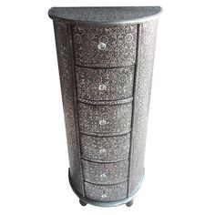 Four Seasons- Lounge Lizard Black Silver Embossed Metal Covered Six Drawer Chest Drawers Tall Boy Cabinet - Semi Circle