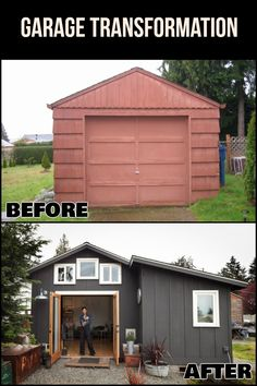 Natalia Repolovsk transformed this 250 sq ft garage into a fully functioning stunning little house. Easily done with a Tuff Shed garage and Premier Lean To! Tiny Homes Estilo Interior, Building A Garage, Garage Remodel, Tiny House Movement, Tiny Spaces, Tiny House Living, Little Houses, Future House, House Plans