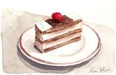Napoleon Mille Feuille with Raspberry - ORIGINAL Watercolor 4 x 6 - French Paris Dessert Laduree France Puff Pastry Cream