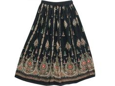 Boho Skirts - Bohemian Fashion Gypsy Ethnic Black Sequin Floral Long Skirt Mogul Interior,http://www.amazon.com/dp/B00BO46VT0/ref=cm_sw_r_pi_dp_BL8Mrb30964742A3