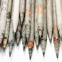 Pencils made from recycled newspaper.