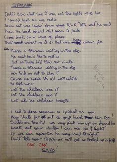 "David Bowie's handwritten lyrics to ""Starman"" ⭐️ David Bowie Lyrics, David Bowie Quotes, David Bowie Tattoo, David Bowie Ziggy, Bowie Starman, Bowie Blackstar, David Jones, Lyric Tattoos, Texts"