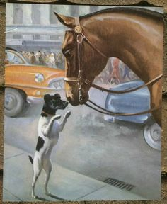 FoxTerrier and a Horse Illustration by Wesley Dennis by RoxyRani