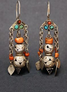 Silver and coral earrings, Afghanistan
