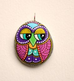 Hand Painted Stone OWL Pendant