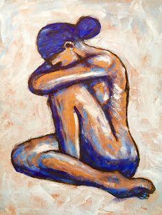Sad Paintings, African Paintings, Modern Art Paintings, Figure Painting, Painting & Drawing, Oil Pastel Art, Small Canvas Art, Acrylic Art, Erotic Art