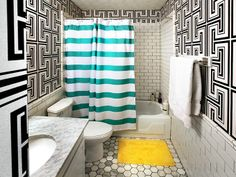 Bold colors and patterns make an exciting, funky space.