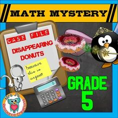 Students will be covering a range of decimal skills in this math mystery: comparing, multiplying and dividing by powers of 10, rounding, adding and subtracting, and multiplying decimals by whole numbers to solve the Case of The Disappearing Donuts.There are 5 clues to crack to solve the mystery:Clue 1: Comparing Decimals (tenths, hundredths and thousandths place values)Clue 2: Multiplying and Dividing Decimals by Powers of 10Clue 3: Rounding Decimals (wholes, tenths, hundredths, thousandths)...