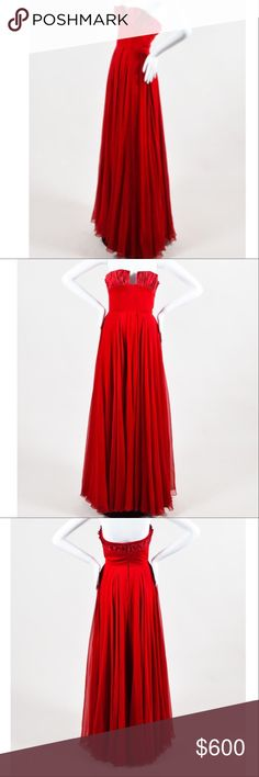 """Reem Acra Red Pleated Gown Sz 4 worn once. Hips: 31"""", waist: 23"""", bust: 28"""", total length: 55"""". Size 4. Final sale Reem Acra Dresses Maxi"""
