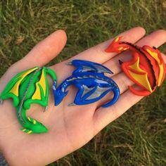 Sleeping Wyvern Dragons Handmade with Polymer Clay