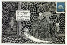 Edward Gorey - not only have people stopped sending handwritten letters, like they used to, but to get this? wowsa.