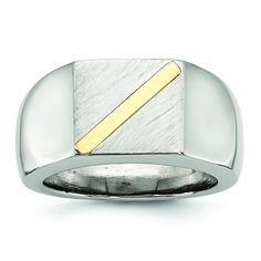 Chisel Stainless Steel Brushed and Polished with 14k Gold Signet Ring