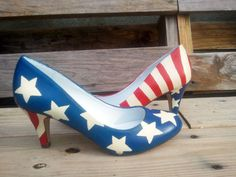 American Flag  Custom Hand Painted Shoes by MacklinsMurals on Etsy, $150.00