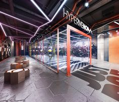 Retail design project of the Conceptual soccer sportswear Store for the Nike Hypervenom brand. Designed without the request, specially to demonstrate the vision o the ultimate design vision Gym Design, Fitness Design, Retail Design, Cafe Design, Gym Interior, Shop Interior Design, Retail Interior, Stand Design, Booth Design